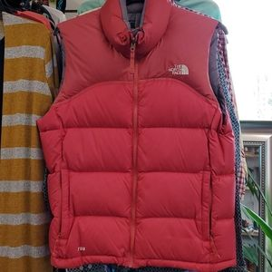 The North Face red puffer vest